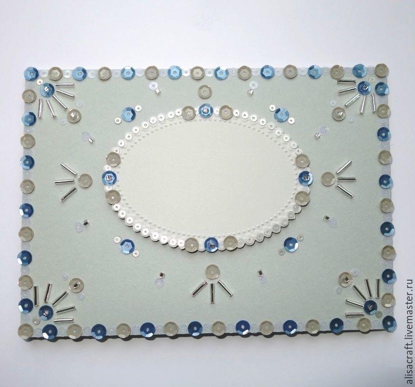 `Платиновый` кардсток (Колорс, 45) плотность - 300 г Цена за формат А4 = 20 руб. На фото - декорирование `Платинового` кардстока блестками и бисером.