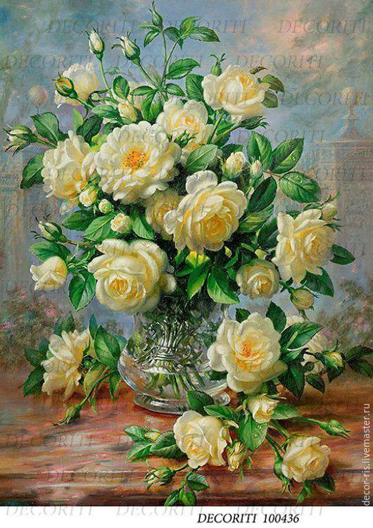 Декупаж и роспись ручной работы. Ярмарка Мастеров - ручная работа. Купить Белые розы (D100436) - рисовая бумага, А4. Handmade.