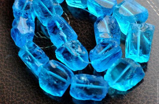 Для украшений ручной работы. Ярмарка Мастеров - ручная работа. Купить Синий кварц необработанные бусины. Handmade. Синий, необработанный