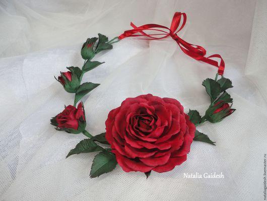 """Колье, бусы ручной работы. Ярмарка Мастеров - ручная работа. Купить Колье из фоамирана """"Полиантовая роза"""". Handmade. Бордовый, фоамиран"""