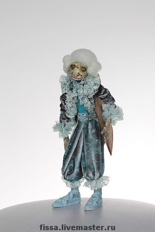 Коллекционные куклы ручной работы. Ярмарка Мастеров - ручная работа. Купить Лягушонок - ливрейный лакей. Handmade. Авторская кукла, Паперклей