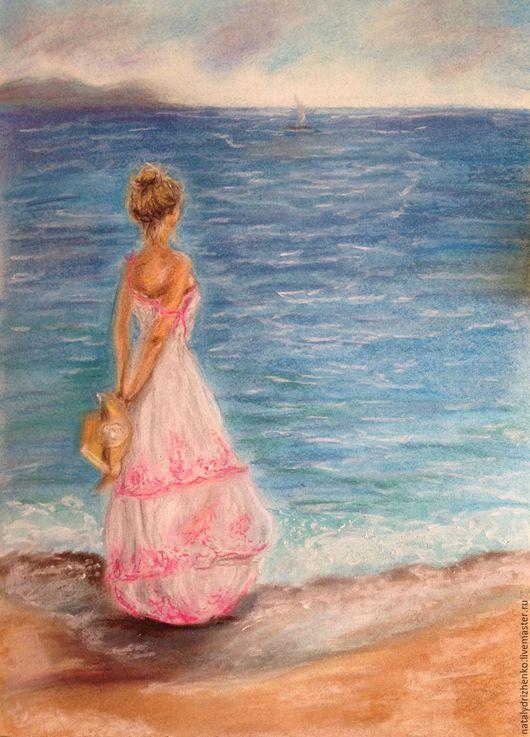 """Люди, ручной работы. Ярмарка Мастеров - ручная работа. Купить Картина пастелью """"Девушка у моря"""". Handmade. Картина пастелью, скидка"""