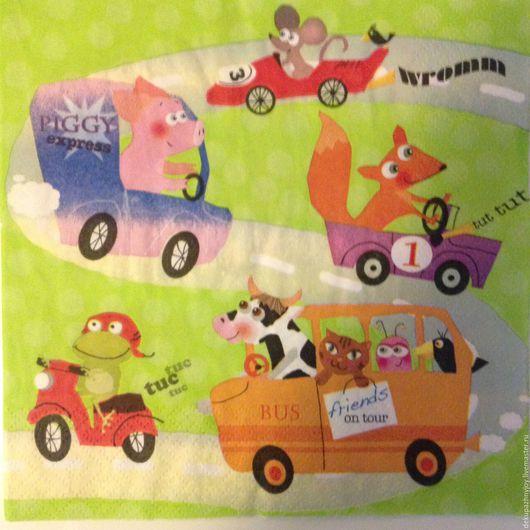 Салфетка для декупажа -мультяшная, детская, веселая Декупажная радость