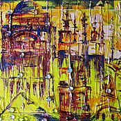 Картины и панно handmade. Livemaster - original item Picture of the yellow with the urban landscape in an abstract style Istanbul. Rain. Handmade.