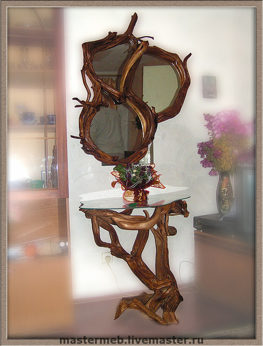 Furniture handmade. Livemaster - handmade. Buy Console + mirror.Bedroom furniture, original, beige, mirror