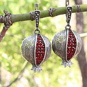 Украшения handmade. Livemaster - original item Classic Delicious Garnet earrings with zircons in silver 925 GA0048. Handmade.