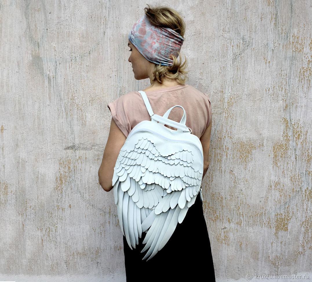 Крылья Ангела Необычный Рюкзак белая кожа или кожзам, Классическая сумка, Москва,  Фото №1