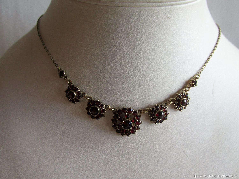 Necklace Silver Bohemian Natural Garnet 45,5 cm #34, Vintage necklace, Prague,  Фото №1