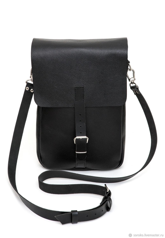 0dec65a253cf Мужские сумки ручной работы. Ярмарка Мастеров - ручная работа. Купить  Мужская черная кожаная сумка ...