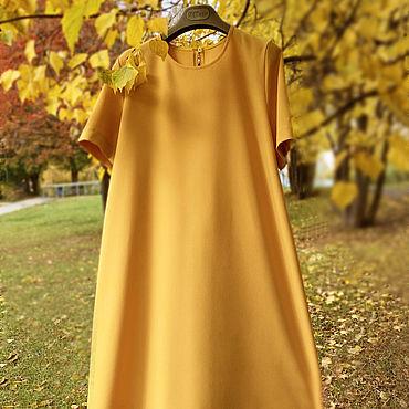 Одежда ручной работы. Ярмарка Мастеров - ручная работа Платье А-силуэта, свободного кроя, миди. Handmade.