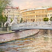 Картины и панно handmade. Livemaster - original item Paintings for the interior of the Petersburg cityscape by the water Bridge with lions. Handmade.