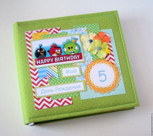 """Фотоальбомы ручной работы. Ярмарка Мастеров - ручная работа. Купить Альбом для мальчика """" Angry birds"""". Handmade. Зеленый"""