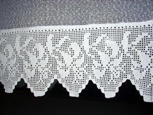 Текстиль, ковры ручной работы. Ярмарка Мастеров - ручная работа. Купить Штора с каймой, связанной филейным узором. Handmade. Белый