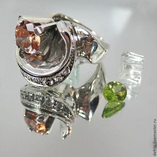 Кольца ручной работы. Ярмарка Мастеров - ручная работа. Купить Крупное стильное серебрянное кольцо Торонто. Handmade. Серебро, цирконы