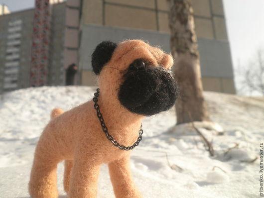 Игрушки животные, ручной работы. Ярмарка Мастеров - ручная работа. Купить Мопс, валяная собака, игрушка из шерсти, щенок. Handmade.