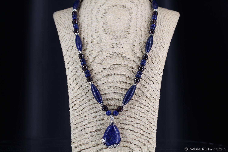 Necklace with pendant made of natural stones (lapis lazuli, garnet), Necklace, Velikiy Novgorod,  Фото №1