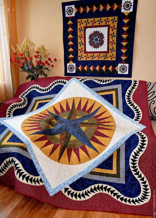 """Текстиль, ковры ручной работы. Ярмарка Мастеров - ручная работа. Купить Покрывало стеганое лоскутное двуспальное """"Mariners Compass"""" Пэчворк. Handmade."""