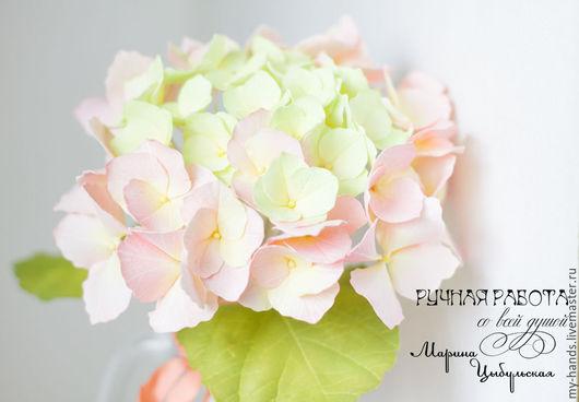 Гортензия из ревелюра, нежно-розовая гортензия, цветы из фома, фоамиран, интерьерные цветы, цветы на свадьбу, невеста, букет с гортензией, розовая гортензия, цветы на заказ, Марьяна Цыбульская