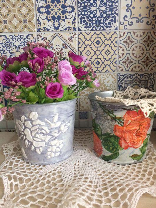 Подарочные наборы ручной работы. Ярмарка Мастеров - ручная работа. Купить Кашпо для цветов и сухоцветов. Handmade. Ведерко, кашпо металическое