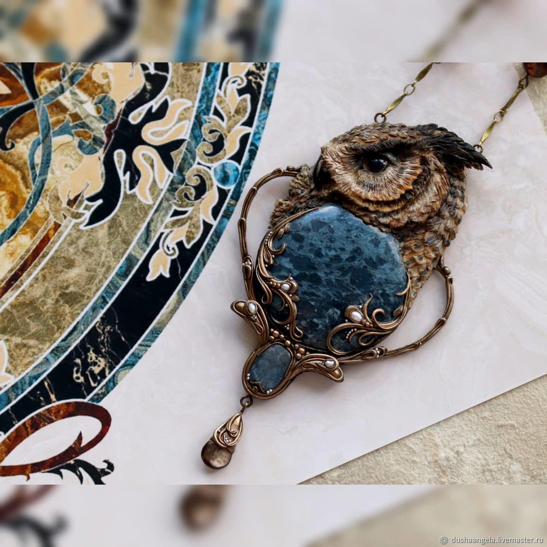 ' Voice of the night bird ' modern, owl, Necklace, Vladimir,  Фото №1