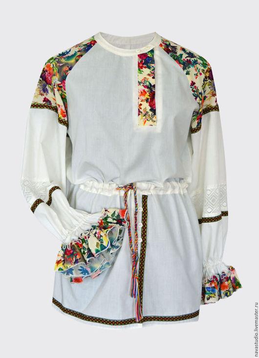 Блузки ручной работы. Ярмарка Мастеров - ручная работа. Купить Блузка с шелковыми вставками (арт 2747). Handmade. Комбинированный