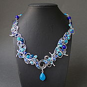 Украшения handmade. Livemaster - original item Necklace Silver Stream ( option in blue). Handmade.
