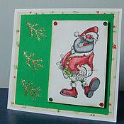 Открытки ручной работы. Ярмарка Мастеров - ручная работа Открытка Веселый Дед Мороз 2. Handmade.