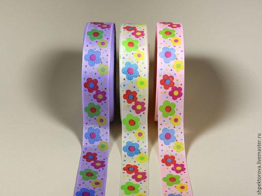 Другие виды рукоделия ручной работы. Ярмарка Мастеров - ручная работа. Купить Ленты репсовые в цветочек 25мм. Handmade. Комбинированный