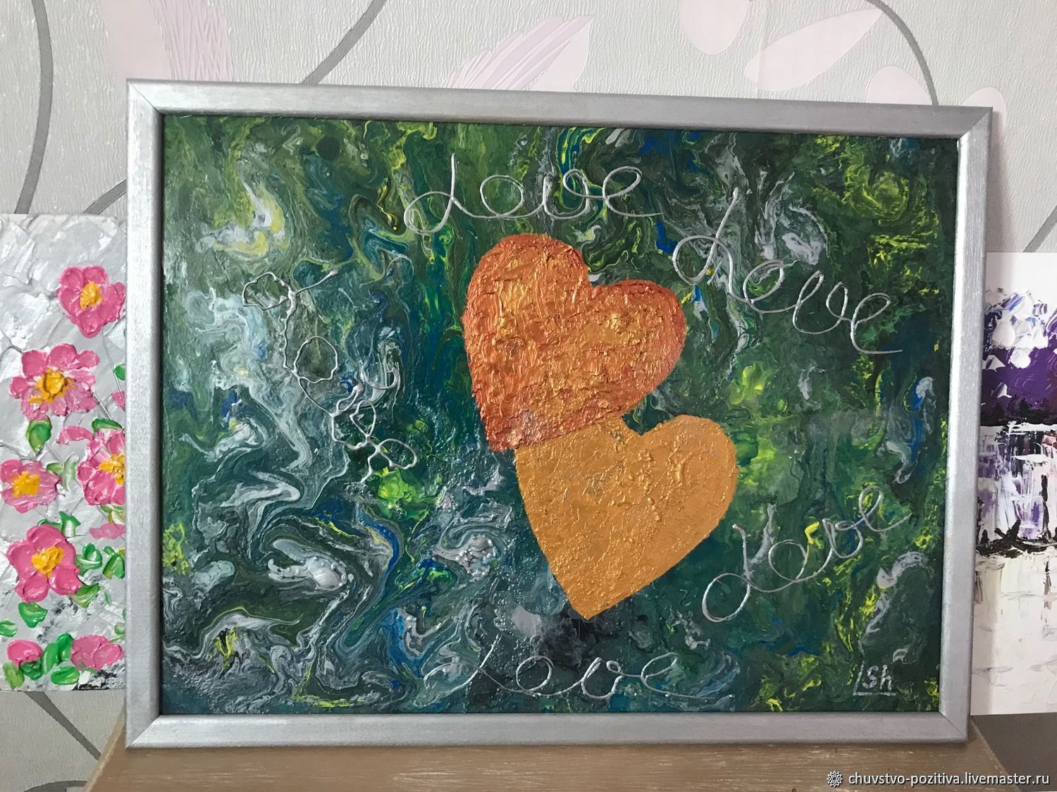 Painting with two hearts and filling under malachite 'We are together' 40h30, Pictures, Volgograd,  Фото №1