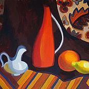 Картины и панно ручной работы. Ярмарка Мастеров - ручная работа Натюрморт с оранжевым кувшином. Handmade.