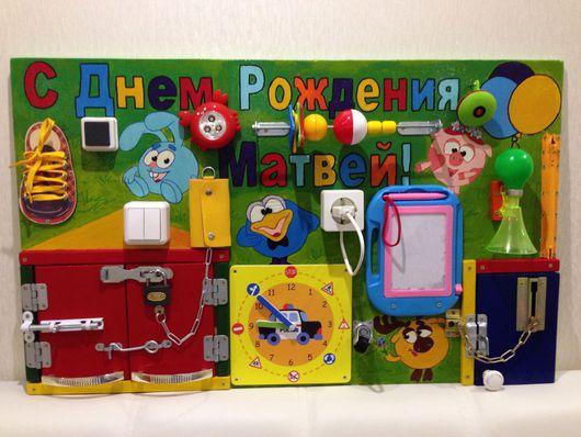 """Развивающие игрушки ручной работы. Ярмарка Мастеров - ручная работа. Купить Бизиборд """"Смешарики"""". Handmade. Игрушка ручной работы, бизиборд"""