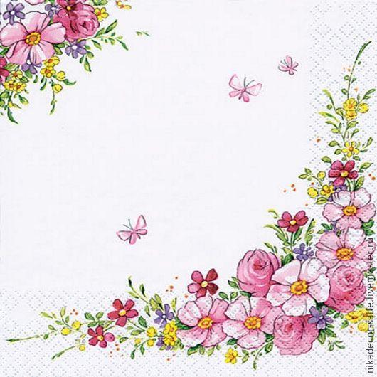 Декупаж и роспись ручной работы. Ярмарка Мастеров - ручная работа. Купить Милые цветы (111350) - 25х25 салфетка для декупажа. Handmade.