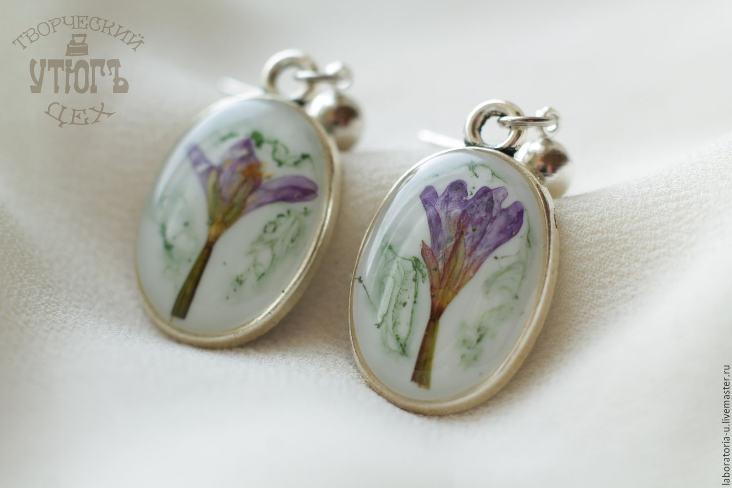 Purple earrings with flowers.Jewelry set with real flowers, Jewelry Sets, Samara,  Фото №1
