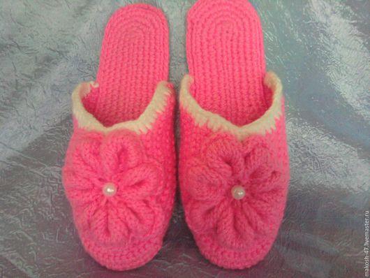 Обувь ручной работы. Ярмарка Мастеров - ручная работа. Купить Тапочки - шлепки ( розовый цветок). Handmade. Розовый, тапочки