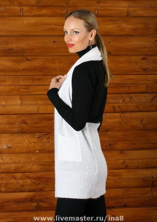 Vests handmade. Livemaster - handmade. Buy Knitted vest 'Lady in white'.White, original vest