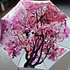 """Зонты ручной работы. Зонт с ручной росписью """"Красное дерево"""". Umbrella Fine Art. Ярмарка Мастеров. Белый и розовый"""