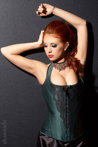 Corsets handmade. Livemaster - handmade. Buy Corset with straps, effect push-up.Dark green, corset push-up