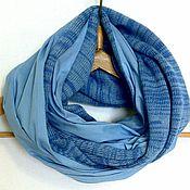 Аксессуары ручной работы. Ярмарка Мастеров - ручная работа Шарф снуд хомут труба Голубой меланж. Handmade.