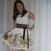 """Одежда ручной работы. Ярмарка Мастеров - ручная работа вышитое нарядное платье""""Вьюнок,цветы,стрекозы!!!"""". Handmade."""