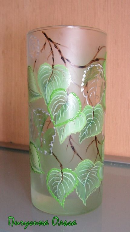 Бокалы, стаканы ручной работы. Ярмарка Мастеров - ручная работа. Купить Березовая роща. Handmade. Салатовый, березовые ветви, стакан