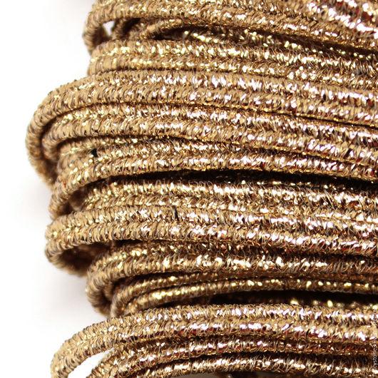 Для украшений ручной работы. Ярмарка Мастеров - ручная работа. Купить Сутаж белорусский 3,5мм металлизированный золото. Handmade.