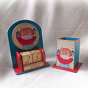 Канцелярские товары handmade. Livemaster - original item Set Perpetual calendar and pencil holder