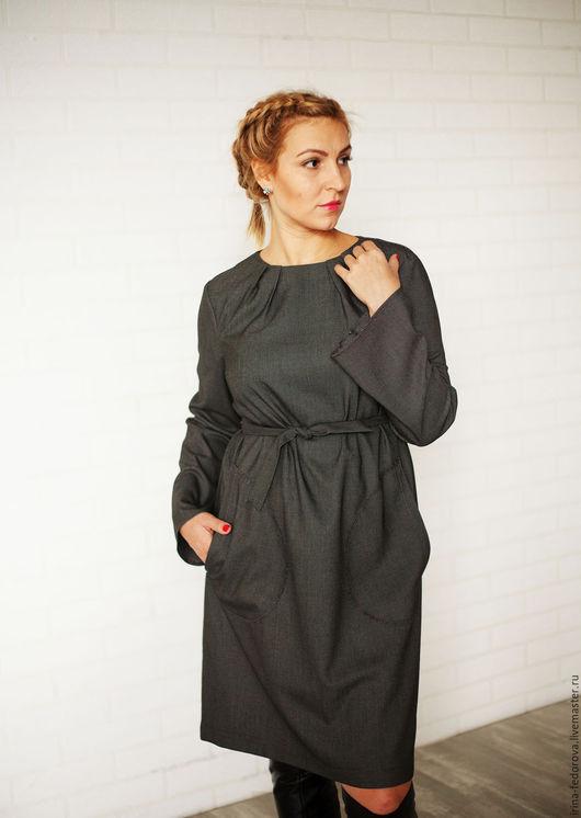 Платья ручной работы. Ярмарка Мастеров - ручная работа. Купить Платье черное из вискозы П-91. Handmade. Серый