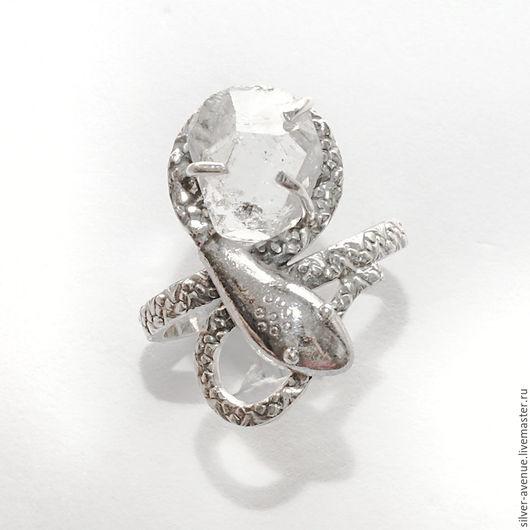 Кольцо с херкимерским алмазом, серебро 925
