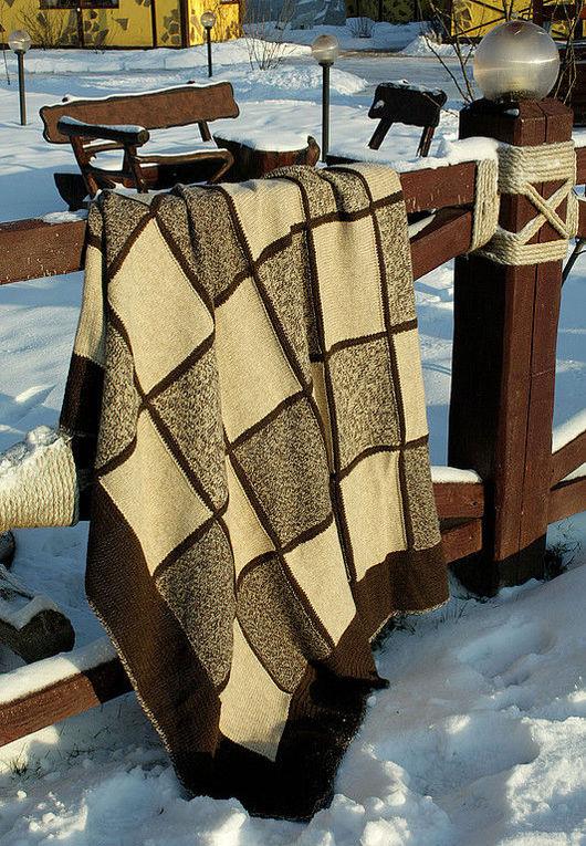 """Текстиль, ковры ручной работы. Ярмарка Мастеров - ручная работа. Купить Плед """"Принц Уэльский"""". Handmade. Плед в клетку, коричневый"""