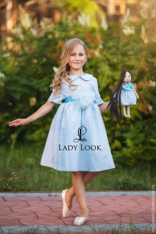 Одежда для девочек, ручной работы. Ярмарка Мастеров - ручная работа. Купить Платье для девочки голубая клеточка. Handmade. Платье для девочки