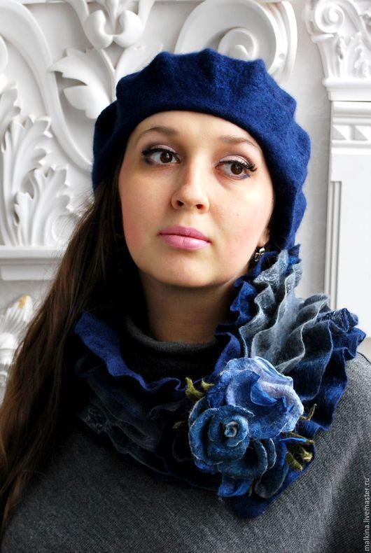 """Комплекты аксессуаров ручной работы. Ярмарка Мастеров - ручная работа. Купить Комплект берет и шарф """"В темно-синем"""". Handmade."""