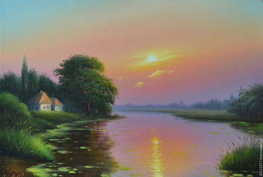 Авторская картина маслом на холсте `Рассвет` 35/50 см.