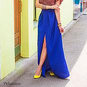 Одежда ручной работы. Ярмарка Мастеров - ручная работа Юбка в пол, разрез спереди, синяя юбка. Handmade.