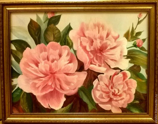 Картины цветов ручной работы. Ярмарка Мастеров - ручная работа. Купить Пионы для любви. Handmade. Розовый, картина в подарок